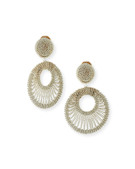 Oscar de la Renta Beaded Hoop Clip Earrings,