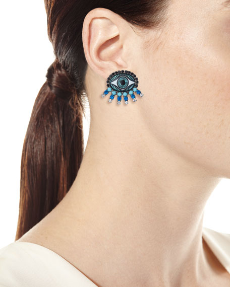 Elizabeth Cole Fern Evil Eye Stud Earrings, Blue