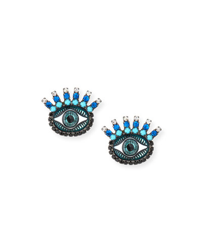 Fern Evil Eye Stud Earrings  Blue