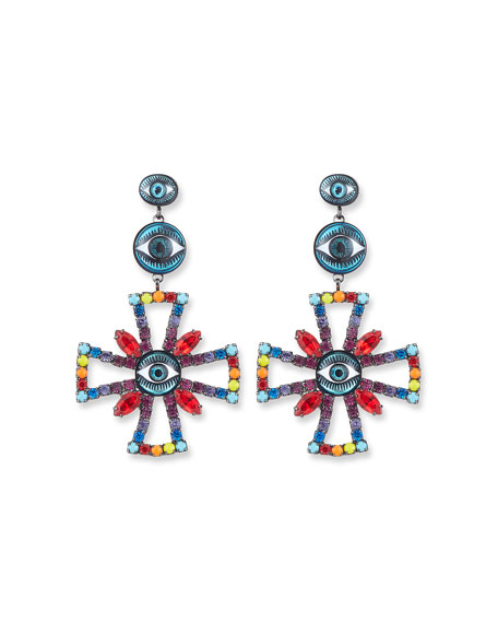Alvey Evil Eye Cross Drop Earrings, Rainbow