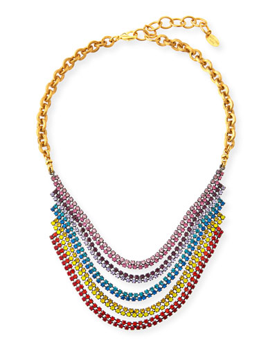 Torrance Crystal Layer Necklace  Rainbow