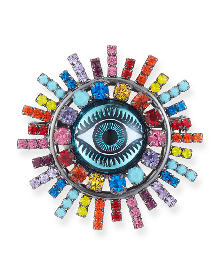Elizabeth Cole Muriel Evil Eye Brooch in Rainbow
