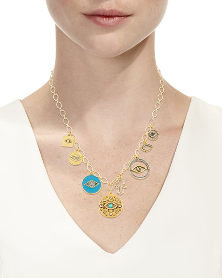 Sequin Long Evil Eye Charm Necklace