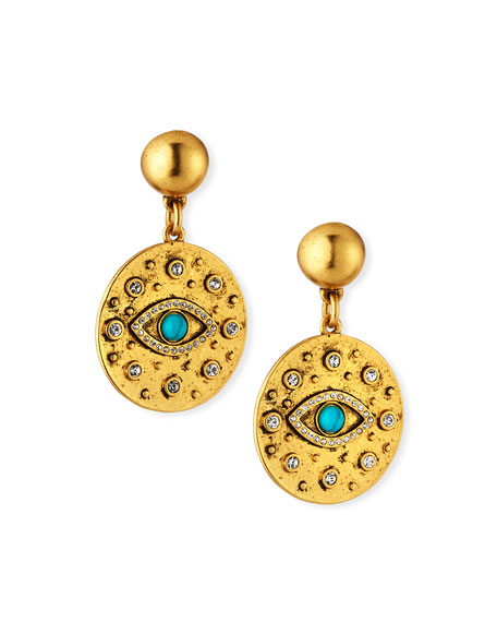 Sequin Evil Eye Crystal Drop Earrings
