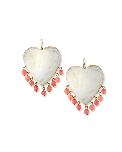 Landa Heart Earrings in Light Horn