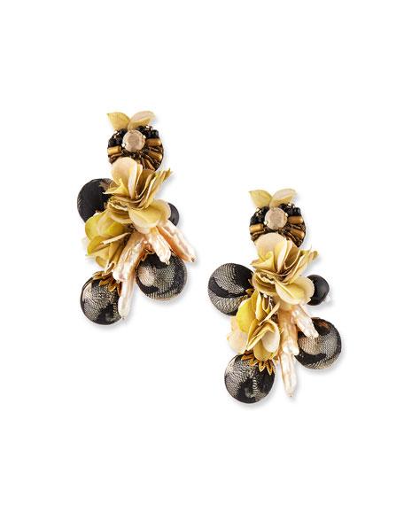 Ranjana Khan Plumeria Clip-On Drop Earrings
