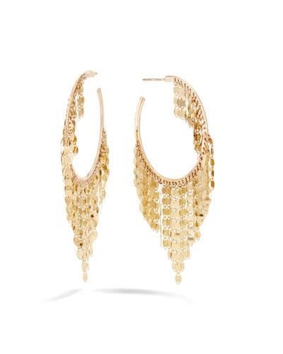 14k Gold Fringe Hoop Earrings