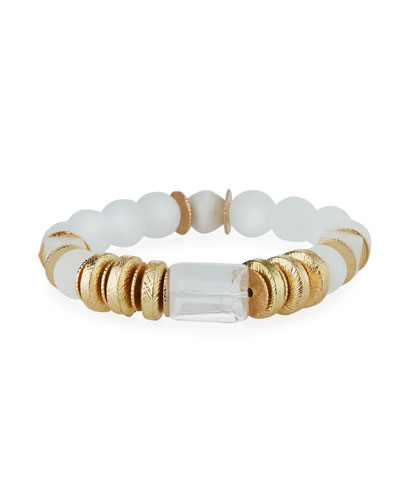 Quartz & Crystal Stretch Bracelet  White
