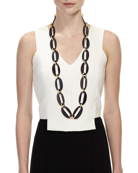 Ashley Pittman Pepo Link Necklace, Dark Brown