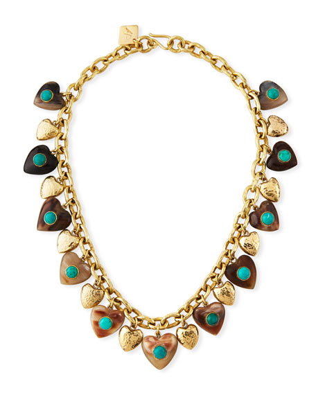 Ashley Pittman Makundi Heart-Charm Necklace w/ Turquoise