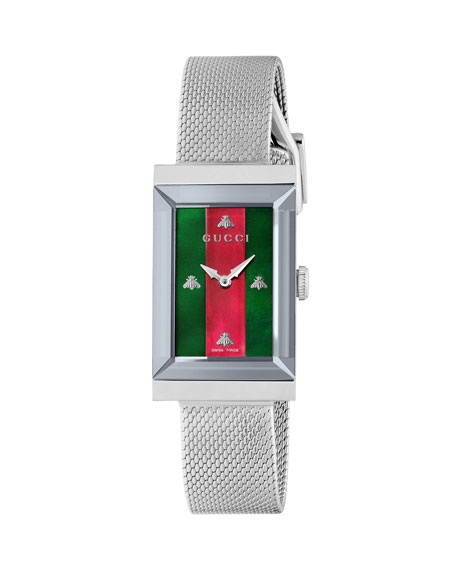 Gucci G-Frame Rectangular Mother-of-Pearl Watch w/ Mesh Strap