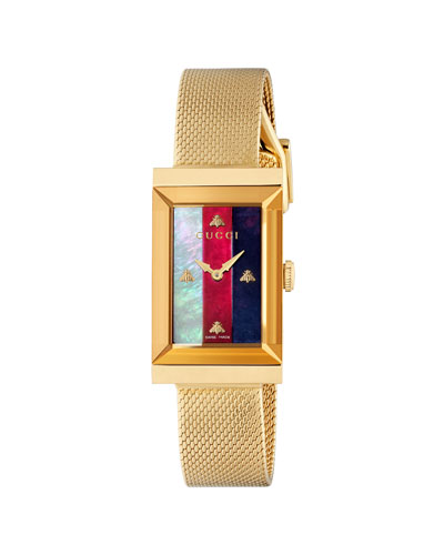 G-Frame Rectangular Mother-of-Pearl Watch w/ Mesh Strap  Gold