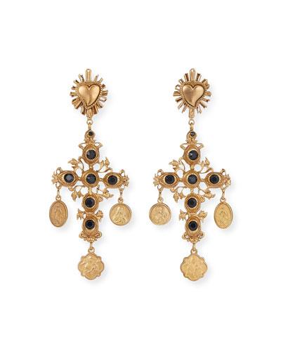 Black Crystal Cross Earrings