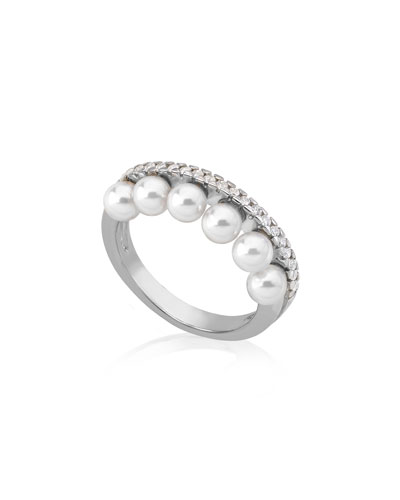 6-Pearl & Cubic Zirconia Ring  Size 7