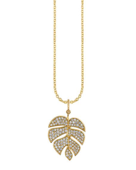 Sydney Evan 14k Diamond Monstera Leaf Charm Necklace