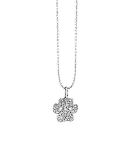 Sydney Evan 14k White Gold Diamond Paw Charm Necklace