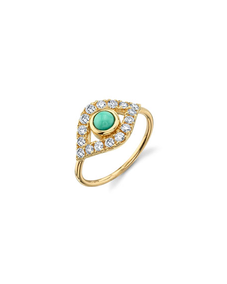 Sydney Evan 14k Extra-Large Evil Eye Ring w/ Diamonds & Turquoise, Size 6.5