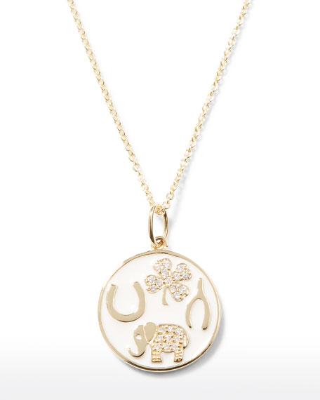 Sydney Evan 14k Luck Tableau Diamond Medallion Necklace, White