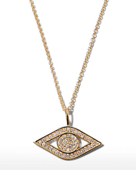 Sydney Evan 14k Yellow Gold Small Diamond Evil Eye Necklace