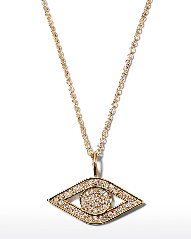 Petite Diamond Evil Eye Pendant in 14k Gold