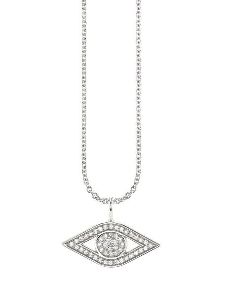 Sydney Evan 14k White Gold Small Diamond Evil Eye Necklace
