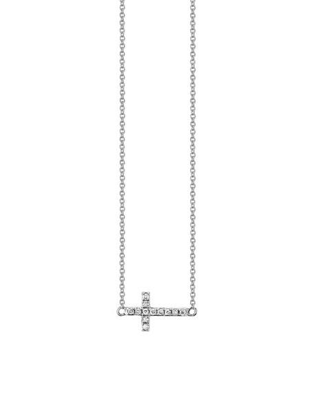 Sydney Evan 14k White Gold Mini Diamond Cross Necklace