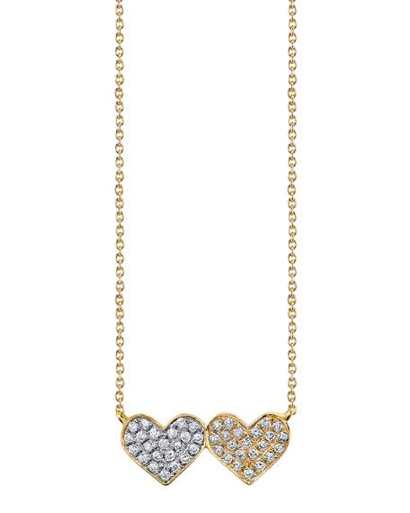 Sydney Evan 14k Diamond Double-Heart Pendant Necklace