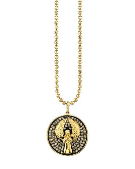 Sydney Evan 14k Large Angel Medallion Necklace w/ Diamonds