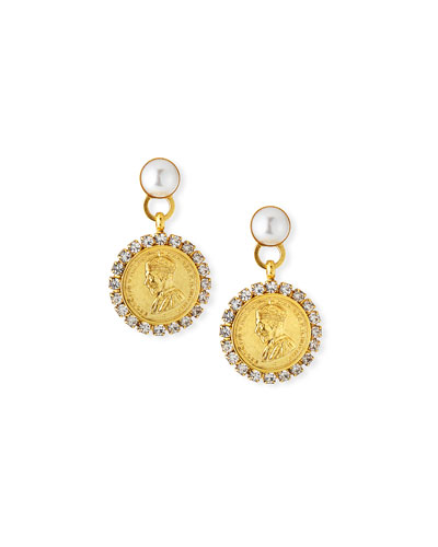 Kyle Coin-Drop Earrings w/ Crystals