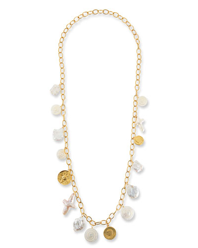 Long Chain Coin Charm Necklace