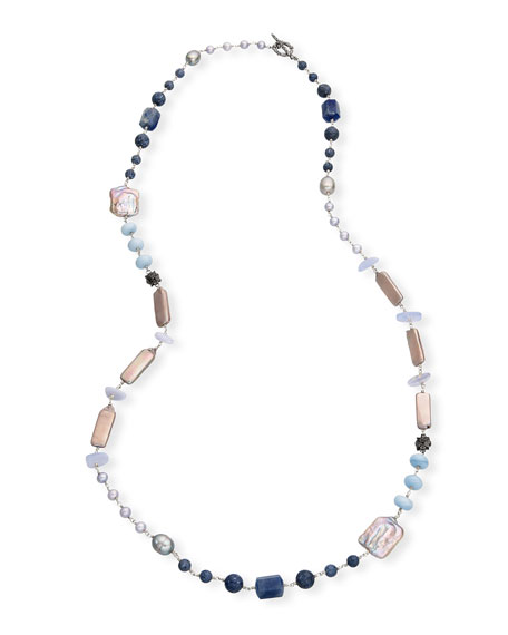 Stephen Dweck Long Silver Pearl & Mixed-Stone Necklace