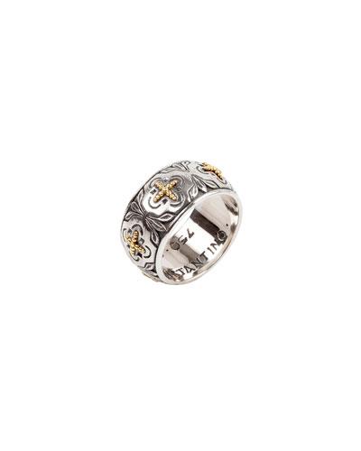 Cross Milgrain Band Ring  Size 7