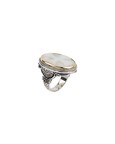 Mother-of-Pearl Cross Ring  Size 7
