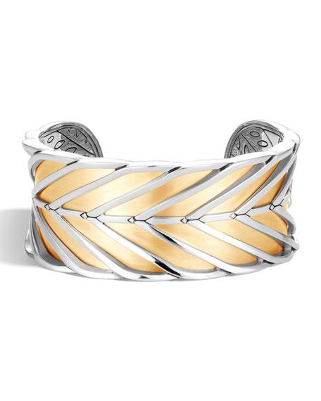 John Hardy Modern Chain 18K Gold & Silver Large Cuff, Size M