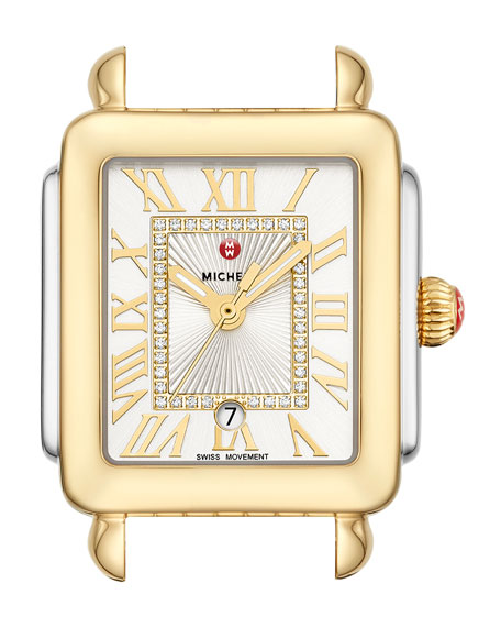 Michele Watches DECO MADISON MID WATCH HEAD, GOLD/STEEL