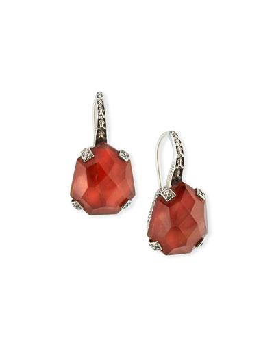 Galactical Doublet Drop Earrings in Mother-of-Pearl & Garnet
