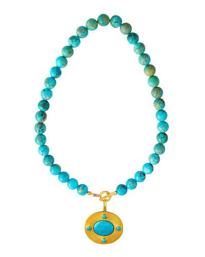 Jasper Necklace w/ Detachable Turquoise Pendant