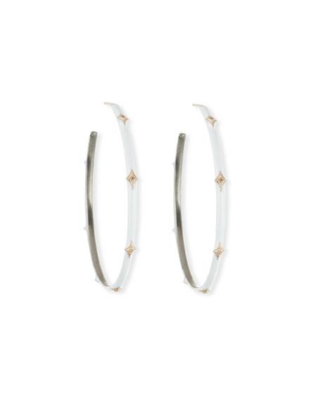 Armenta New World Enamel Earrings w/ 14k Gold Crivelli, White