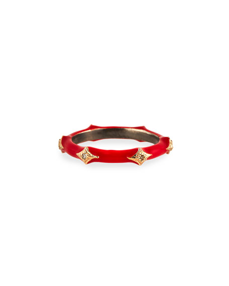 Armenta New World Red Enamel Diamond Crivelli Stack Ring, Size 6.5