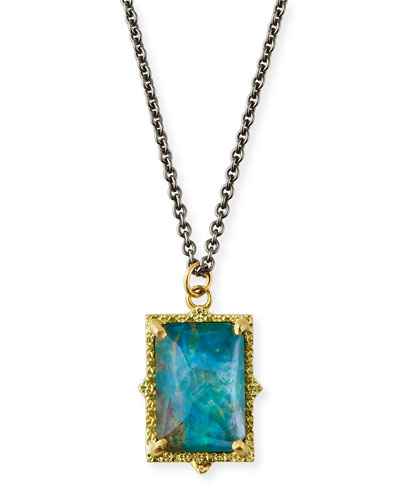 Old World 18k Rectangular Triplet Pendant Necklace