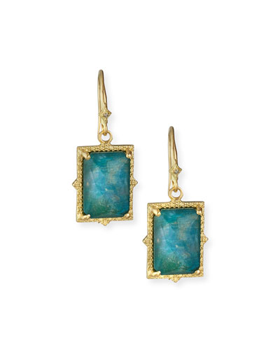 Old World 18k Rectangular Triplet Earrings w/ Diamonds