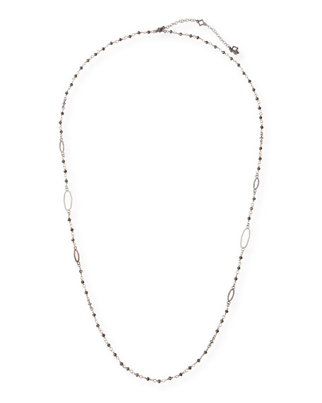 """Armenta New World Long Pyrite Necklace, 30""""L"""