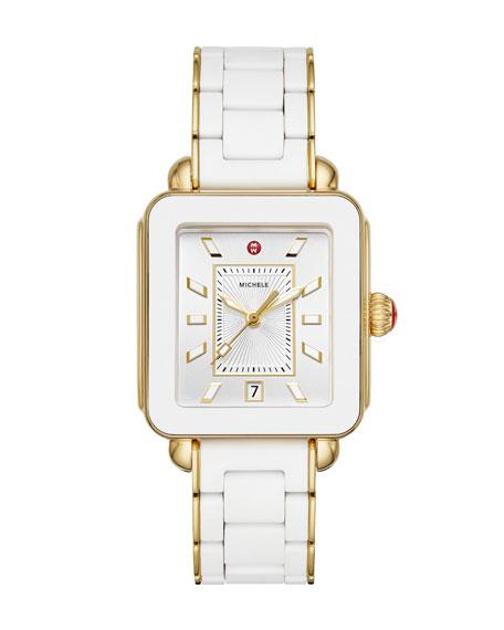 MICHELE Deco Sport Bracelet Watch, Gold/White
