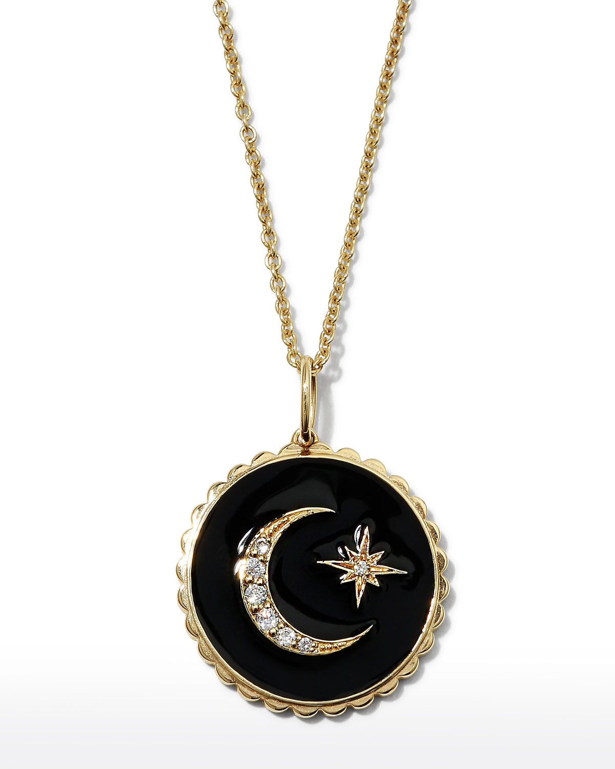 Sydney Evan 14k Black Celestial Medallion Necklace w/ Diamonds