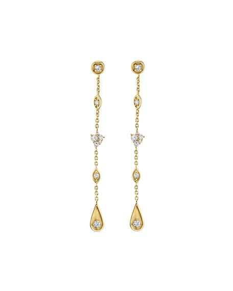 Sydney Evan 14k Long Diamond Mixed-Drop Earrings