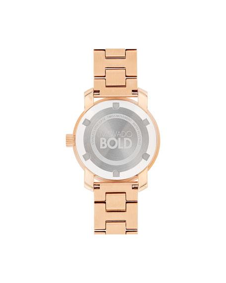 Movado 30mm Crystal-Set Bracelet Watch, Rose