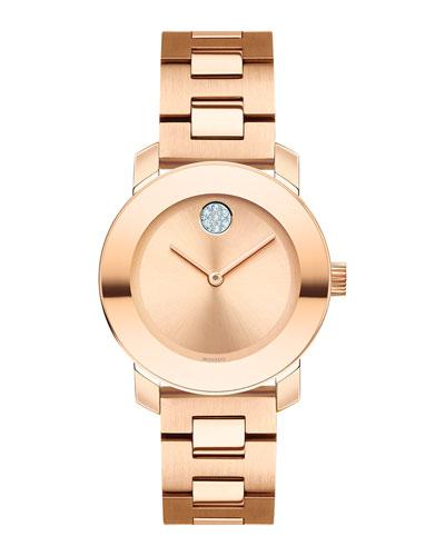 30mm Crystal-Set Bracelet Watch  Rose