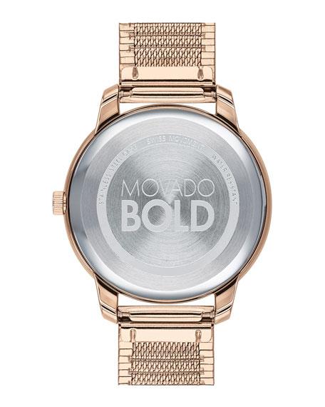 Movado 35mm Movado Bold Thin Watch w/ Mesh Bracelet, Carnation