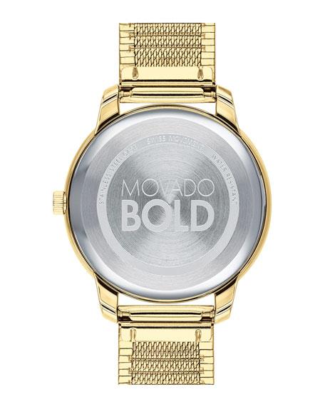 Movado 35mm Movado Bold Thin Watch w/ Mesh Bracelet, Gold
