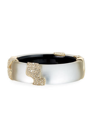 Alexis Bittar Crystal Encrusted Sectioned Hinge Bracelet, Silver